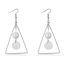 Elegant Silver Color Pearl& Disc Shape Decorated Triangle Earrings