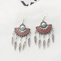 Fashion Red Leaf Decorated Sector Shape Pure Color Earrings