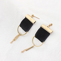 Personality Black Strip Pendant Decorated Earrings