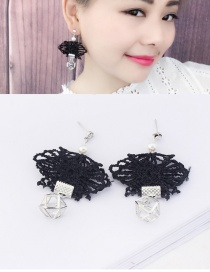 Fashion Black Diamond Decorated Pure Color Lace Earrings