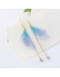 Trendy Light Blue Tassel&butterfly Decorated Long Earrings