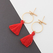 Elegant Red Tassel Decorated Circular Ring Shape Earrings