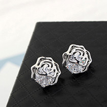 Elegant Silver Color Diamond Decorated Flower Shape Pure Color Earrings