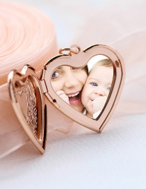 Fashion Rose Gold Oil Painting Version Printed Love Photo Box Pendant Necklace